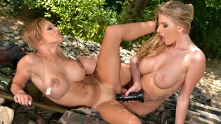 In The Army Now: Two Horny Soldiers Cram Their Pussies In The Jungle - DDF Busty