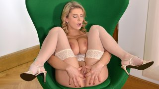 Mirroring Awesomeness - Busty Glamour Babe Squeezes Her Titties - DDF Busty