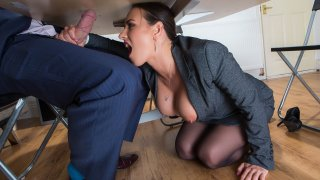 Under The Table Deal - Big Tits At Work