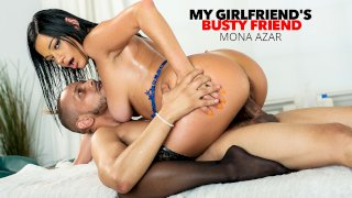 Sexy and Juicy, Mona Azar, gets oiled up and massaged by her friend's boyfriend, then gets her pussy worked! - My Girlfriend's Busty Friend